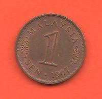 Malesia 1 Sen 1967 Malaysia Bronze Coin First Date - Malaysia
