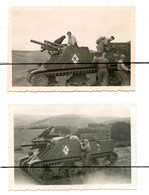 2 PHOTOGRAPHIES Annotées  . Tank. Char. Photo D'Un Cheval Sur Le Blindé. Soldats Sur Un Char. - Guerra, Militari