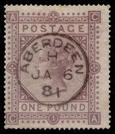 "Used] GREAT BRITAIN 1878 | £1 Brown-lilac, Wmk ""Maltese Cross"" | Signed A. Diena, G. Oliva | Provenance: | The Romano Pa - Usati"