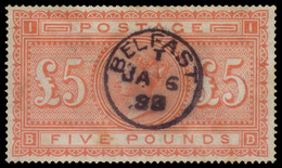 "Used] GREAT BRITAIN 1867 | £5 Orange, White Paper, Wmk ""Large Anchor"" | Signed Em. Diena | Provenance: | The Romano Pado - Usati"