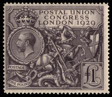 "MH] GREAT BRITAIN 1929 | ""Postal Union Congress"". £1 Black. Gum Slightly Toned | Provenance: | The Romano Padoan Collect - Nuovi"