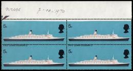 "MNH] GREAT BRITAIN 1969 | Variety, Block Of 4 Of 5d. ""RMS Queen Elizabeth 2"" Upper Sheet Margin, With Perforation Shifte - Varietà, Errori & Curiosità"