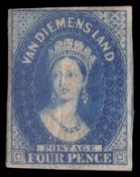"MH] TASMANIA 1855 | ""Van Diemen's Land"". 4d. Blue, Wmk ""Large Star"" | Signed A. Diena | Provenance: | The Romano Padoan  - Usati"