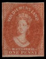 "MH] TASMANIA 1856 | ""Van Diemen's Land"". 1d. Deep Red-brown, Pelure Paper | Signed G. Oliva | Provenance: | The Romano P - Usati"