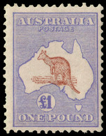 "MH] AUSTRALIA 1913 | £1 Brown And Ultramarine, Wmk ""Wide Crown"". Two Short Perf. At Left Side | Provenance: | The Romano - Non Classificati"