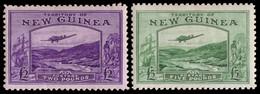 "MH] NEW GUINEA 1935 | Airmail ""Bulolo Goldfields"". £2 Bright Violet And £5 Emerald-green | Provenance: | The Romano Pado - Papua Nuova Guinea"
