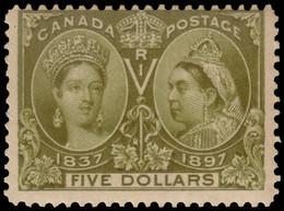 MH] CANADA 1897 | $5 Olive-green | Signed G. Oliva | Provenance: | The Romano Padoan Collection | MH..........(SG 140 £1 - Nuovi