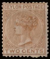"MH] CEYLON 1872 | 2c. Brown, Wmk ""Crown CC"", P. 12½ | Signed A. Diena | Provenance: | The Romano Padoan Collection | MH. - Ceylon (...-1947)"
