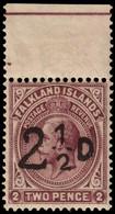 MNH] FALKLAND ISLANDS 1928 | South Georgia Provisional. 2½d./2d. Purple-brown, Upper Sheet Margin | Signed A. Diena | Pr - Falkland