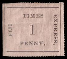 "MH] FIJI 1871 | ""Fiji Times Express"". 1d. Black On Rose, Vertically Ribbed Paper, Orizontal Natural Gum Bend | Signed A. - Fiji (...-1970)"