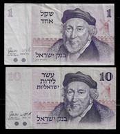 ISRAEL BANKNOTE - 2 USED BANKNOTES 1973-1978 F/VF (NT#04) - Israel
