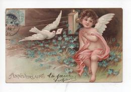 """""""  Anniversaire  """"  Petit  Cupidon  écoute  Téléphone,  Colombe Porte  Lettre  ,  Myosotis  - Gaufrée - 1900-1949"""