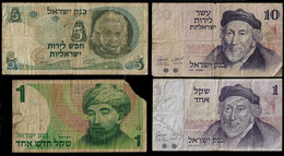 ISRAEL BANKNOTE - 4 USED NOTES F (NT#04) - Israel