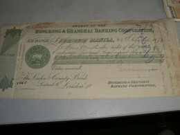 CAMBIALE 1879 HONGKONG & SHANGHAI BANKING CORPORATION MANILA - Other