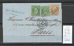 France - Yvert 20 X 2 + 55 - Affranchissement Composé Ceres + Napoléon- Marseille 1871 - 1849-1876: Periodo Classico
