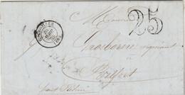 LAC Cachet Type 15 GUEBWILLER Haut Rhin 20/4/1853 Taxe Double Trait Pour Belfort Ambulant Strasbourg à Bâle 1 - 1849-1876: Classic Period