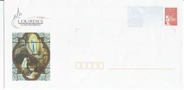 PAP Enveloppe Timbre Lourdes Vitraux De La Grotte   N° 3083 ** La Poste Sur Le Timbre - PAP : Bijwerking /Luquet