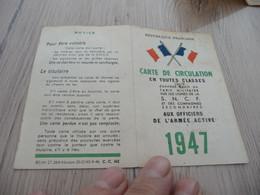 Carte De Circulation En Toute Classe Donnant Droit Au Tarif Militaire 1947 Base Escale De Salé Maroc Aviation - Other