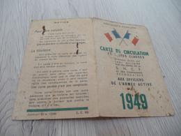 Carte De Circulation En Toute Classe Donnant Droit Au Tarif Militaire 1949 Armée De L'air - Other