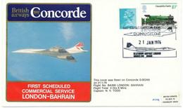 GB 1976 BA 300 First Commercial Flight British Airways Concorde LONDON - BAHRAIN - Briefe U. Dokumente