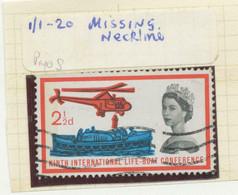 GB 1963, QEII 2 ½ D Rescue At Sea Fine Used With Rare VARIETY: QEII With MISSING NECKLINE, EXHIBITION-ITEM, R! - Abarten & Kuriositäten