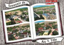& 21 Arc Sur Tille Carte Souvenir 4 Vues Ecoles Eglise Centre Bourg Place Libération Edit Lapie Livre Ouvert CPSM GF - Other Municipalities
