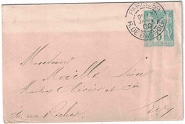Paris - Rue De Bagnolet - Entier Postal Type Sage - Janvier 1900 - Non Classificati
