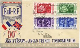 1956 NOUVELLES HEBRIDES 2 LETTRES FDC CINQUANTENAIRE DU CONDOMINIUM VERSIONS FRANCAISES ET ANGLAISES - Storia Postale