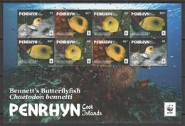 H971 2017 PENRHYN WWF FAUNA FISH & MARINE LIFE BENNETT'S BUTTERFLYFISH !!! MICHEL 26 EURO !!! 1SH MNH - Sonstige