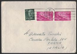 EW99    Spain 1957 Cover To Italy - Pair Avion Y Carabela 1,40 Pta - Mi.1042 Francisco Franco 20 Cts - 1951-60 Cartas