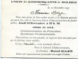 Bolbec(76): Carte De Convocation Réunion Union Commerciale De Bolbec En 1937 - Cartoncini Da Visita