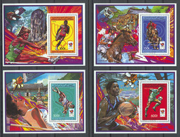 Comoros, Comores, 1988, Olympic Summer Games Seoul, Running, Equestrian, Pole Vault, Soccer, MNH, Michel Block 250-253A - Comores (1975-...)