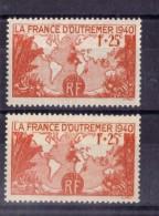 N° 453(variété De Couleur : (papier Fond Blanc Et Papier Fond Jaunatre) NEUF** - Curiosities: 1931-40 Mint/hinged