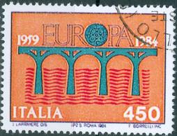 ITALIA, ITALIE, EUROPA, CEPT, 1984, 450 £, FRANCOBOLLO USATO Mi:IT 1886, Scott:IT 1594 - 1981-90: Usados