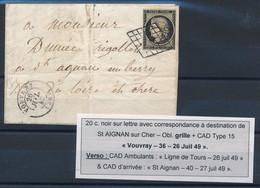 DZ-125: FRANCE: Lot Avec N°3 Sur Lettre (filet Touché) - 1849-1850 Cérès
