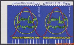 België 2000 - Mi:2941 A, Yv:2889a, OBP:2890a, Stamp - □ - Exact Sciences - Ongetande