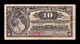 Nicaragua 10 Centavos De Cordoba 1938 Pick 87 BC F - Nicaragua