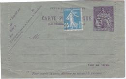 Carte Pneumatique Non Fermée ,75 TELEGRAPHE + TIMBRE SEMEUSE 25 C BLEU - Neumáticos