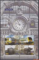 België 2008 - OBP:TRV BL 14, Railway Vignettes - XX - Unification Of Time - 1952-....