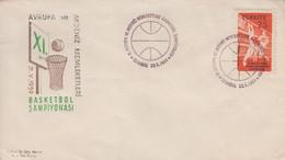 Enveloppe  FDC  1er  Jour  TURQUIE   11éme  Championnat  D' Europe  Et   Méditerranéens  De   Basket Ball   1959 - Pallacanestro