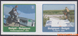 België 2010 - Mi:4100 D/4101 D, Yv:4035/4036, OBP:4054/4055, Stamp - XX - Tourist Issue Bicycle Nodes - Ongebruikt