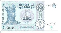 MOLDAVIE 5 LEI  2015 UNC P B22 - Moldova