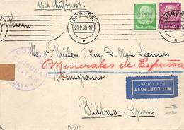 1939.- CARTA DE HAMBURO A BILBAO DEL 21 FEB 1939. EN EL REVERSO RARA ESTAMPACIÓN OR NO ESTAR SUSCRITO A LA FICHA AZUL - Sin Clasificación