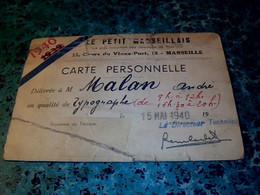 """Vieux Papiers Carte De Presse D'un Typographe Du Journal  """" Le Petit Marseillais """"  Annèe 1940 - Unclassified"""