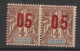 Dahomey - 1912 - N°Yv. 34a + 34 - Groupe 05 Sur 4c Lilas - Surcharge Espacée Tenant à Normal - Neuf * / MH VF - Neufs