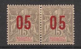 Dahomey - 1912 - N°Yv. 35a + 35 - Groupe 05 Sur 15c Gris - Surcharge Espacée Tenant à Normal - Neuf * / MH VF - Neufs