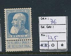 BELGIUM COB  76 MNH - 1905 Thick Beard