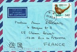 2001 - Chine - Lettre Pour La France - FAISAN Tp N° Yvert 2475 (Michel N° 2801) - Brieven En Documenten
