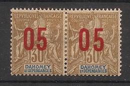 Dahomey - 1912 - N°Yv. 38a + 38 - Groupe 05 Sur 30c Bistre - Surcharge Espacée Tenant à Normal - Neuf * / MH VF - Neufs