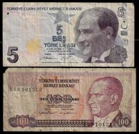 TURKEY BANKNOTE - 2 USED NOTES (NT#04) - Turkey